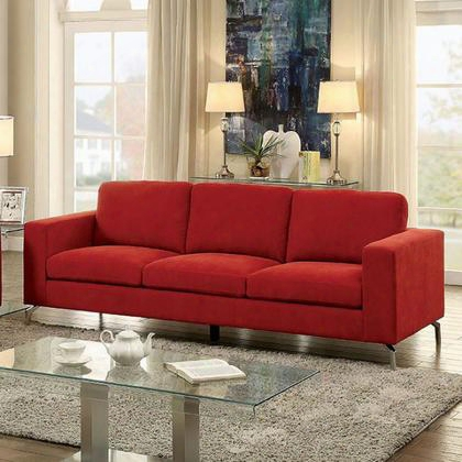 Kallie Cm6848-sf Sofa With Contemporary Style Chrome Legs Flannelette Fabric Track Arms In