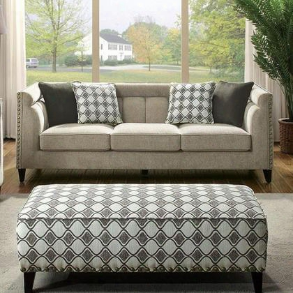 Kristi Cm6835-sf Sofa With Contemporary Style Nailhead Trim Linen-like Fabric Tuxedo-inspired Design In
