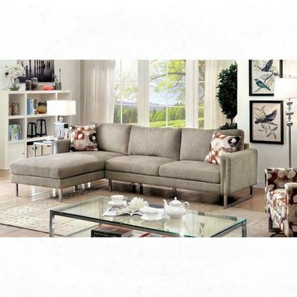 Lauren I Cm6856-sectional Sectional With Contemporary Style Chrome Legs Pillows Included Chenille Fabric In