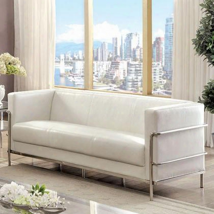 Leifur Cm6791wh-sf Sofa With Contemporary Style Tuxedo-inspired Design Stainless Steel Frame Track Arms In