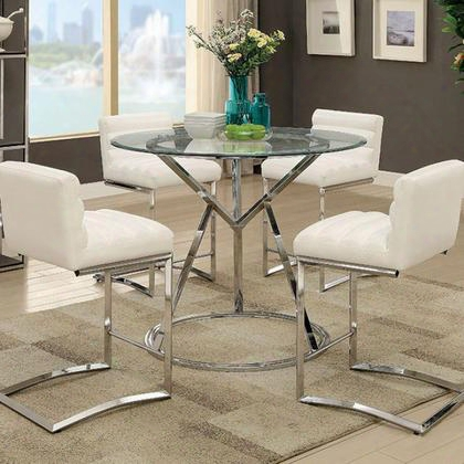 Livada Ii Cm3170rpt Counter Ht. Table With Contemporary Style Angular Metal Base 10 Mm Tempered Glass Top Ribbed Padded Leatherette Chair In