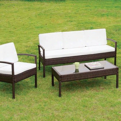Makenna Cm-os2119 4 Pc. Patio Seating Set With Contemporary Style Includes 1 Coff Ee Table Espresso Wicker Frame 5mm Black Tempered Glass In