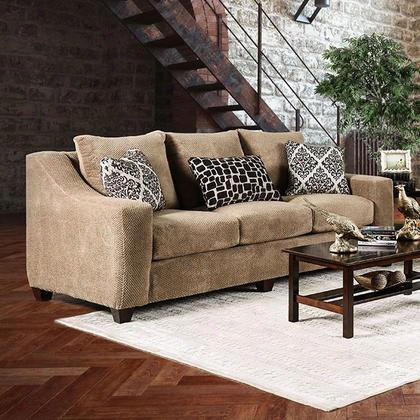 Massimo Sm2252-sf Sofa With Transitional Style Crystal-like Acrylic Buttons Shined Fabric Sloped Track Arms In Shiny