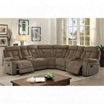 Maybell Cm6773mc-sectional Sectional With Transitional Style Built-in Cup Holders And Storage Chenille Fabric Plush Cushions In