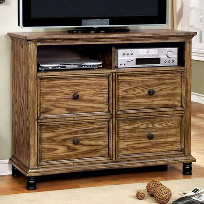 Mcville Cm7558tv Media Chest With Industrial Design Metal Frame And Forest Panels Felt-lined Top Drawers Metal Hardware In Dark