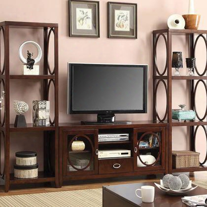 "Melville Cm5051-tv 56"" Tv Console With Framed Glass Doors Rear Wiring Access Cherry Finish Oval Shape Accents In"