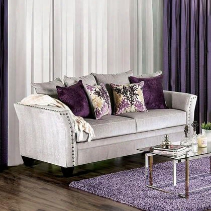 Oliviera Sm6204-sf Sofa With Transitional Style Premium Velvet-like Fabric Wooden Legs Nailhead Trim In
