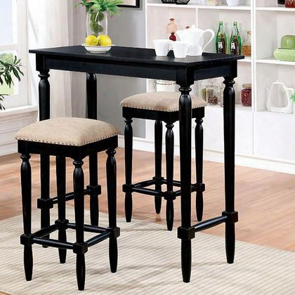 Oprah Cm3175bt-3pk 3 Pc. Bar Table Set With Country Style Turned Legs Padded Fabric Cushions Solid Wood Wood Veneer Others* In