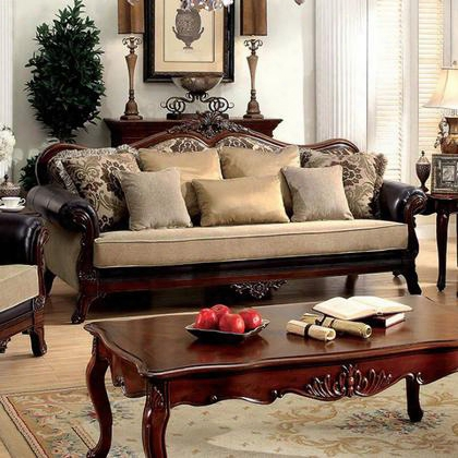 Rashid Cm6789-sf-pk Sofa With Traditioonal Style Rolled Arms Victorian Print Intricate Wood Trim In Tan/dark