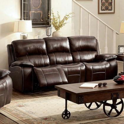 Ruth Cm6783br-sf Sofa With Transitional Style Plush Cushions Cup Holders And Storage Recliners In