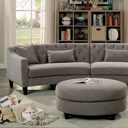 Sarin Cm6370-sectional Sectional With Contemporary Style Rounded Design Sloped-style Arms Linen-like Fabric In Warm