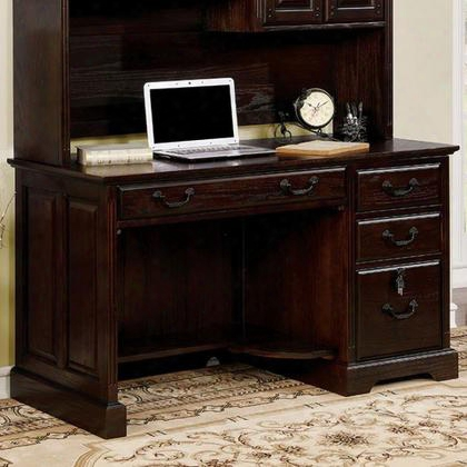 Tami Cm-dk6384cd-pk Credenza Desk With Transitional Style Multiple Drawers Antique Style Handles Solid Wood Wood Veneer Others* In Dark