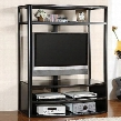"Faron I CM5134-TV 54"" Glass Top Tv Console with Black Tempered Glass Top Fits Up To 48 Tv Black Finish Mount Bracket Included in"