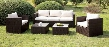 Olina CM-OS1820IV 5 Pc. Patio Set with Contemporary Style includes 2 Tables Clear Tempered Glass Top Brown or Ivory Fabric Seats in Ivory Cushions/Espresso