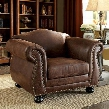 Tabitha SM6110-CH Chair with Traditional Style Rolled Arms intricate Wood Trim Fabric and Leatherette in