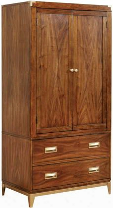 Tychus Cm7559ar-set Armoire With Transitional Style Gold Accent Drawer Handles And Corners Solid Wood Wood Veneer Others* Dark Oak Finish In Dark