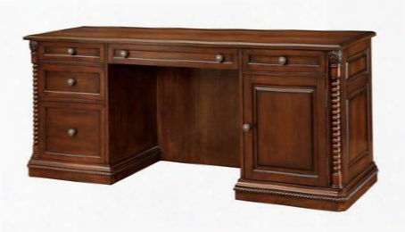 Vicki Cm-dk6380ds Computer Desk With Traditional Style Ornate Rope-like Design Multiple Drawers Solid Wood Wood Vneeer Others* In Dark