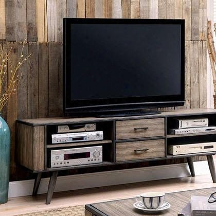 "Vilhelm Iii Cm5360-tv 72"" Tv Console With Mid-century Modern Style Metal Frame With Tapered Legs Storagee Drawers And Open Shelves Solid Wood/wood"