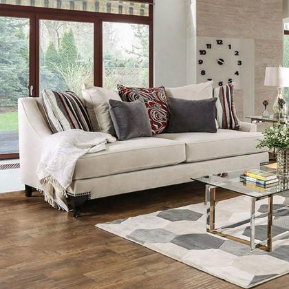 Viscontti Sm2206-sf Sofa With Transitional Style T-cushion Seating Premium Velvet Fabric Nailhead Trim In
