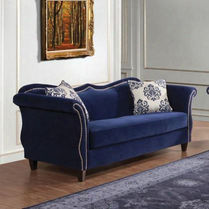 Zaffiro Sm2231-sf Sofa With Romantic Style Bench Style Place Sweetheart Style Back High-density Foam Cushions In Royal