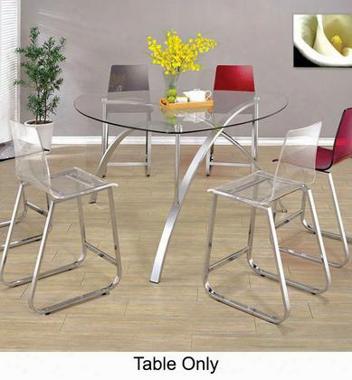 Zora Cm3992pt-table Round Table With Contemporary Style 8mm Triangle Tempered Glass Top Chrome Finish In