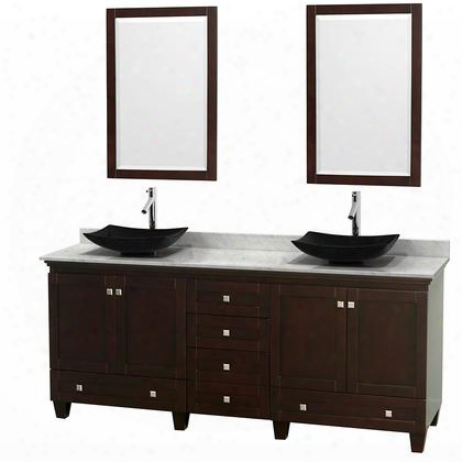 """Acclaim Wcv800080descmgs4m24 80"""" Double Bathroom Vanity With 4 Doors 6 Drawers 2 Mirrors Brushed Chrome Hardware White Carrera Marble Top And Arista Black"""