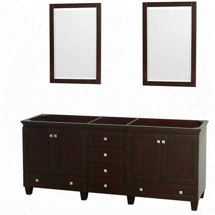 """Acclaim Wcv800080descxsxxm24 80"""" Double Bathroom Vanity With 4 Doors 6 Drawers 2 Mirrors And Brushed Chrome Hardware In Espresso"""