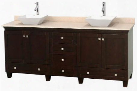 "Acclaim Wcv800080desivd2wmxx 80"" Double Bathroom Vanity With 4 Doors 6 Drawers 3"" Backsplash Brushed Chrome Hardware Ivory Marble Top And Pyra White"