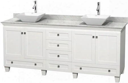 "Acclaim Wcv800080dwhcmd2wmxx 80"" Double Bathroom Vanity With 4 Odors 6 Drawers 3"" Backsplash Brushed Chrome Hardware White Carrera Marble Countertop And"