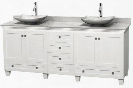 """Acclaim Wcv800080dwhcmgs6mxx 80"""" Double Bathroom Vanity With 4 Doors 6 Drawers 3"""" Backsplash Brushed Chrome Hardware White Carrera Marble Countertop And"""