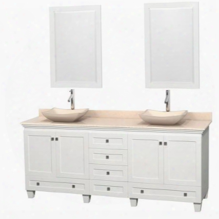 """Acclaim Wcv800080dwhivgs2m24 80"""" Double Bathroom Vanity With 4 Doors 6 Drawers 2 Mirrors Brushed Chrome Hardware Ivory Marble Top And Avalon Ivory Marble"""