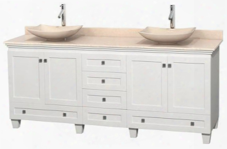 "Acclaim Wcv800080dwhivgs5mxx 80"" Double Bathroom Vanity With 4 Doors 6 Drawers 3"" Backsplash Brushed Chrome Hardawre Ivory Marble Top And Arista Ivory"