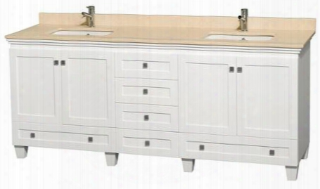 "Acclaim Wcv800080dwhivunsmxx 80"" Double Bathroom Vanity With 4 Doors 6 Drawers 3"" Backsplash Brushed Chrome Hardware Ivory Marble Top And Solid Oak"