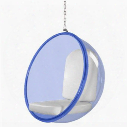 Fmi10152-white Bubble Hanging Chair Blue Acrylic
