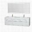 WCR430072DGWARINTM70 72 in. Double Bathroom Vanity in Gloss White Acrylic Resin Countertop Integrated Sinks and 70 in.