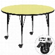 XU-A60-RND-YEL-T-P-CAS-GG Mobile 60' Round Activity Table with Yellow Thermal Fused Laminate Top and Height Adjustable Pre-School