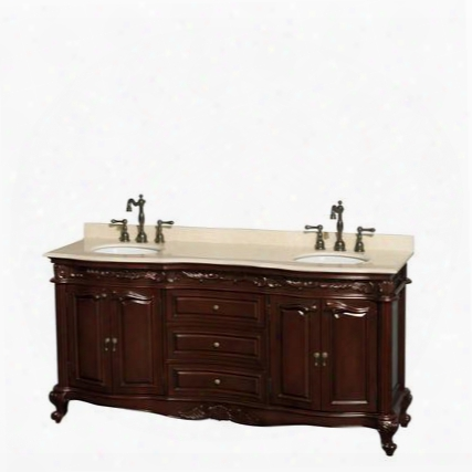 Wcjj23372dchivunomxx 72 In. Double Bathroom Vanity In Cherry Ivory Marble Countertop Undermount Oval Sinks And No