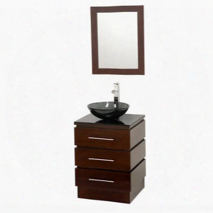 Wcsms004essmb015 22 In. Single Bathroom Vanity In Espresso With Smoke Glass Top With Smoke Glass Sink And 22 In.