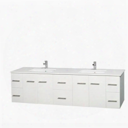 Wcvw00980dwhwsunsmxx 80 In. Double Bathroom Vanity In White White Man-made Stone Countertop Undermount Square Sinks And No