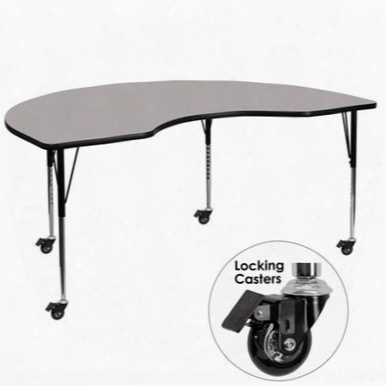 Xu-a4896-kidny-gy-h-a-cas-gg Mobile 48'w X 96'l Kidney Shaped Activity Table With 1.25' Thick High Pressure Grey Laminate Top And Standard Height Adjustable