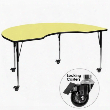 Xu-a4896-kidny-yel-t-a-cas-gg Mobile 48'w X 96'l Kidney Shaped Activity Table With Yellow Thermal Fused Laminate Top And Standard Height Adjustable