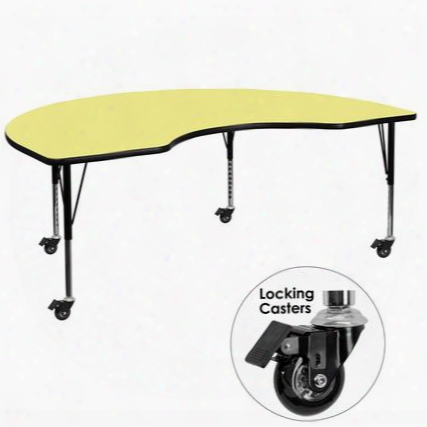 Xu-a4896-kidny-yel-t-p-cas-gg Mobile 48'w X 96'l Kidney Shaped Activity Table With Yellow Thermal Fused Laminate Top And Height Adjustable Pre-school