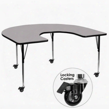 Xu-a6066-hrse-gy-t-a-cas-gg Mobile 60'w X 66'l Horseshoe Activity Table With Grey Thermal Fused Laminate Top And Standard Height Adjustable