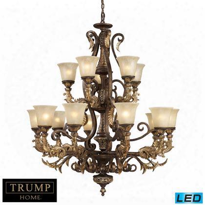 2166/10+5-led 15 Light Chandelier In Burnt Bronze -