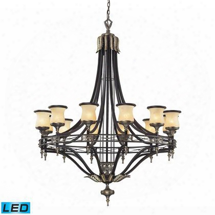 2434/12-led 12 Light Chandelier In Antique Bronze & Dark Umber And Marblized Amber Glass -
