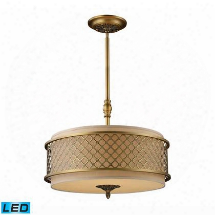 31033/4-led Chester 4-light Pendant In Brushed Antique Brass -