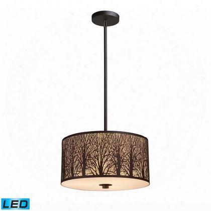 31074/3-led Woodland Sunrise 3-light Pendant In Aged Bronze -