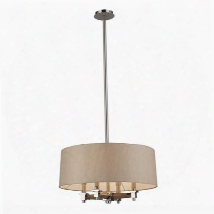 31335/4 Jorgenson 4 Light Pendant In Taupe Wood And Polished