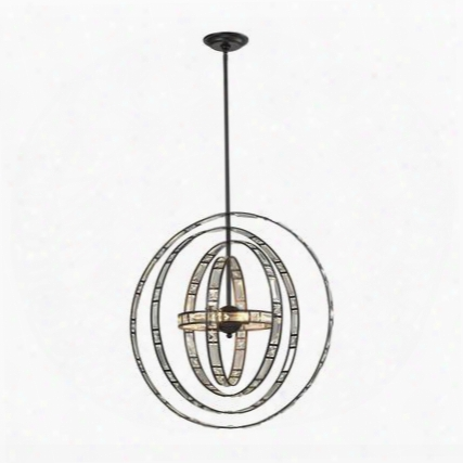 31661/6 Crystal Orbs 6 Light Pendant In Oil Rubbed