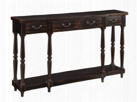 """50686 60"""" Console Table With Four Drawers Distressed Detail Decorative Drawer Pulls And A Lower Shelf In Apperson Black"""